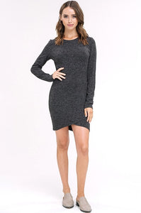 Charcoal Knit Bodycon Wrap Dress