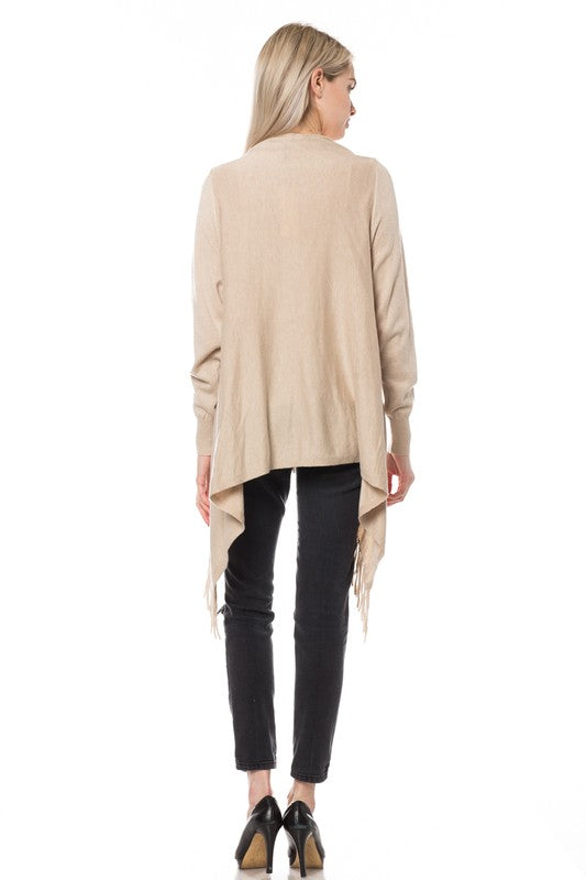 Oatmeal Fringe Draped Cardigan