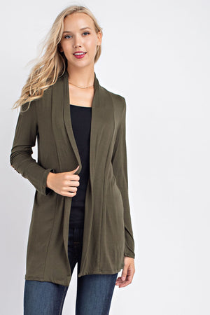 Solid Jersey Elbow Patch Cardigan