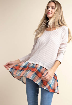 Cream & Plaid Tunic Top