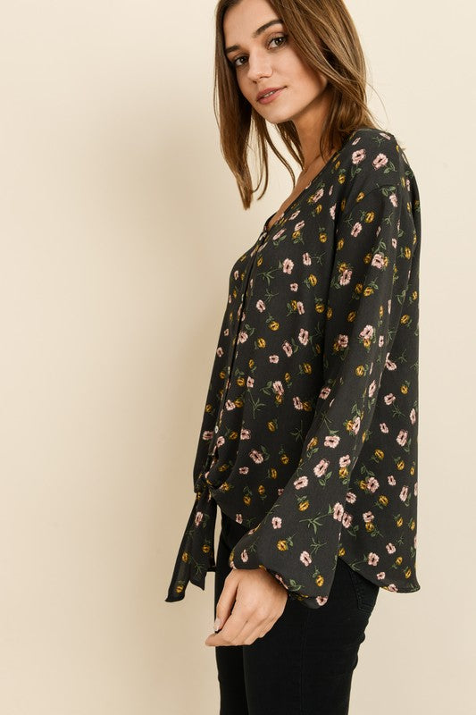 Fall Floral Button Down Top