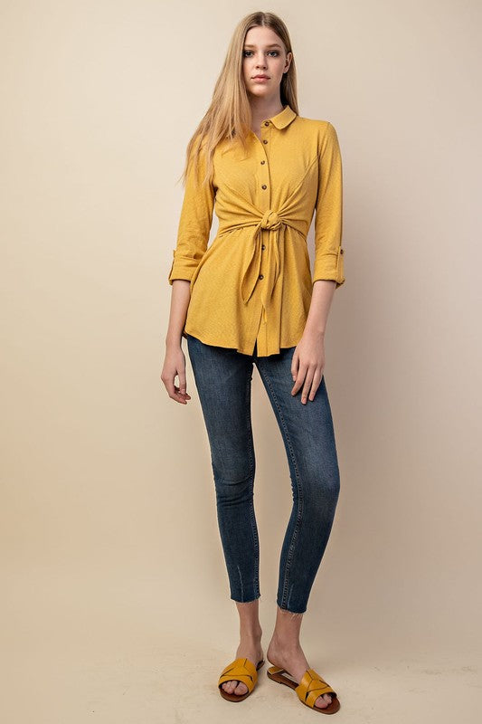 Mustard Tied Waist Button Down