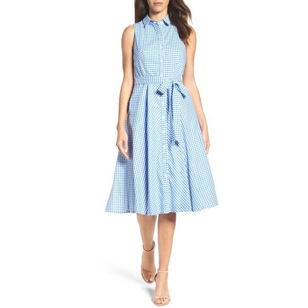 CHETTA B Blue Gingham Button Down Dress (6)