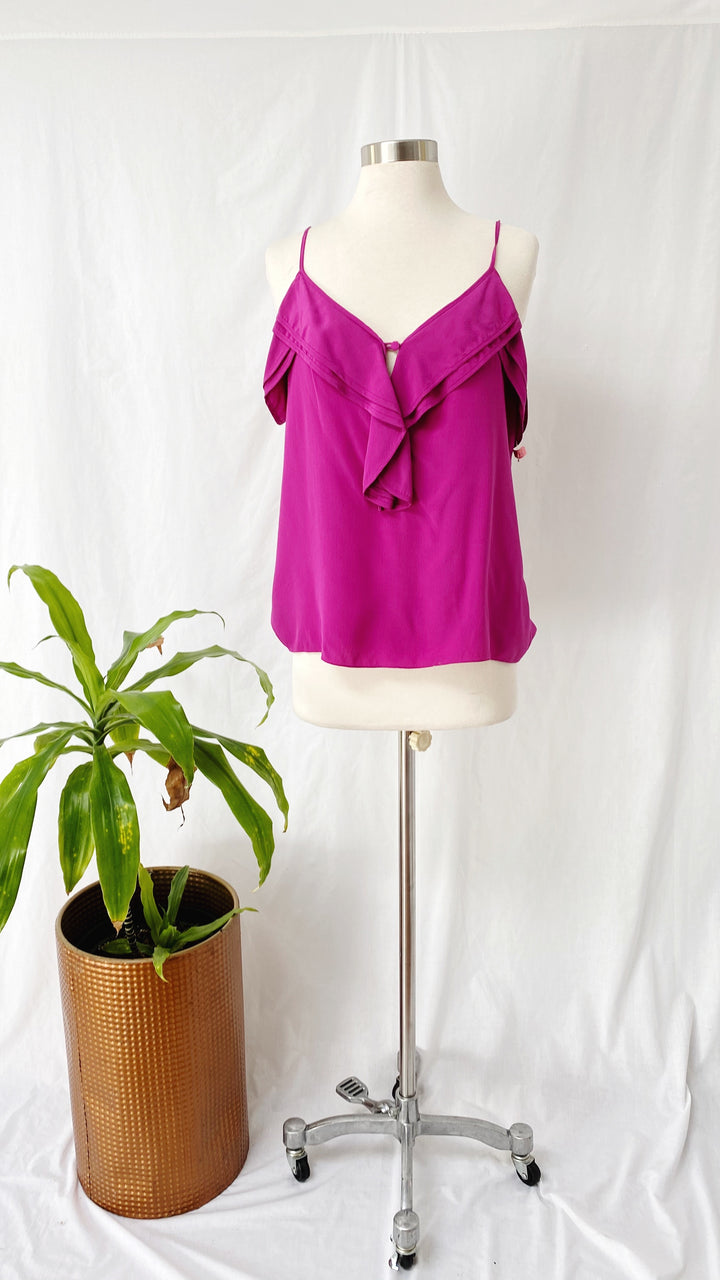 Parker Magenta Silk Ruffle Sleeveless Top (M)