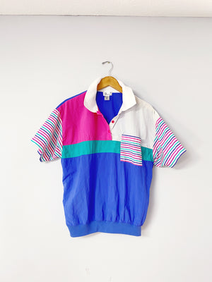 Vintage Color Block Wind Breaker Top (XL)