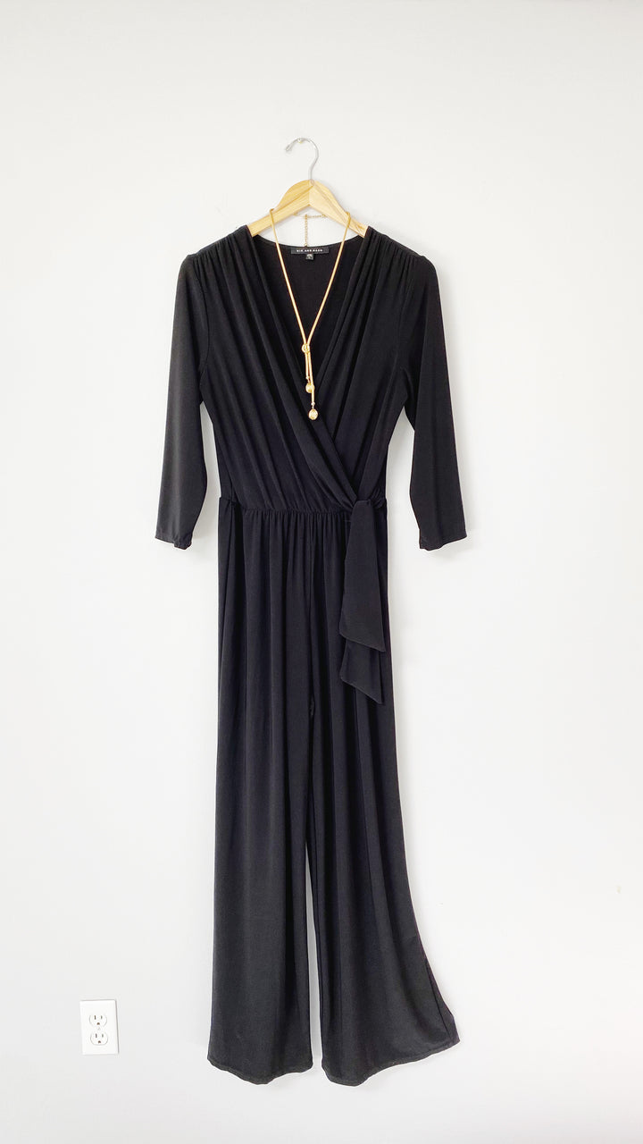 Nic + Nash Black 3/4 Sleeve Jumpsuit (L)