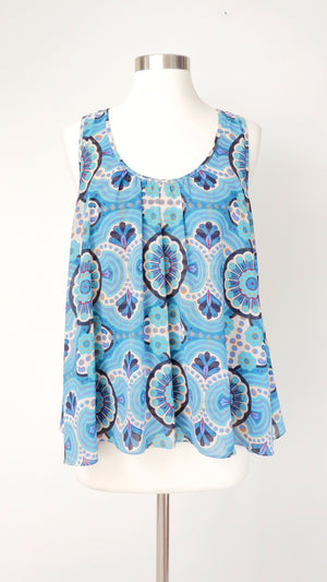 Anthropologie Turquoise Floral & Stripe Top (M)