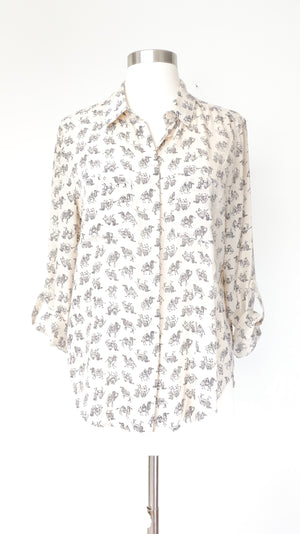 Ann Taylor Camel Print Silk Button Down (S)