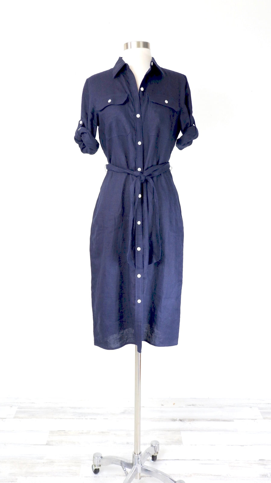 Ralph Lauren Navy Linen Shirtdress (S)