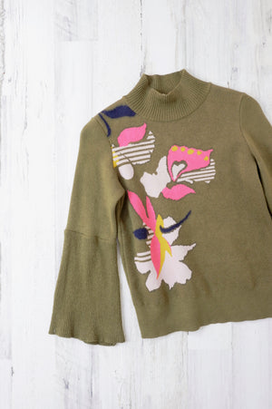 Anthropologie Olive Floral Bell Sleeve Sweater (XS)