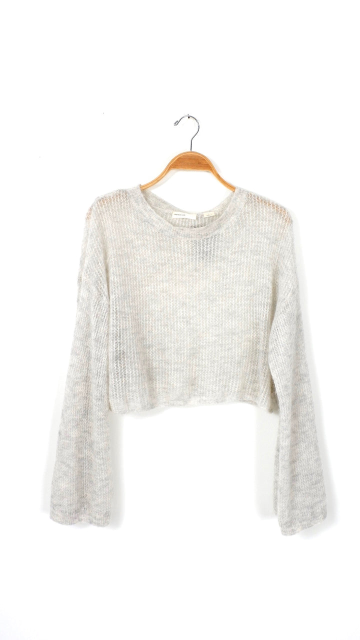 Anthropologie Gray Bell Sleeve Crop Sweater (S)