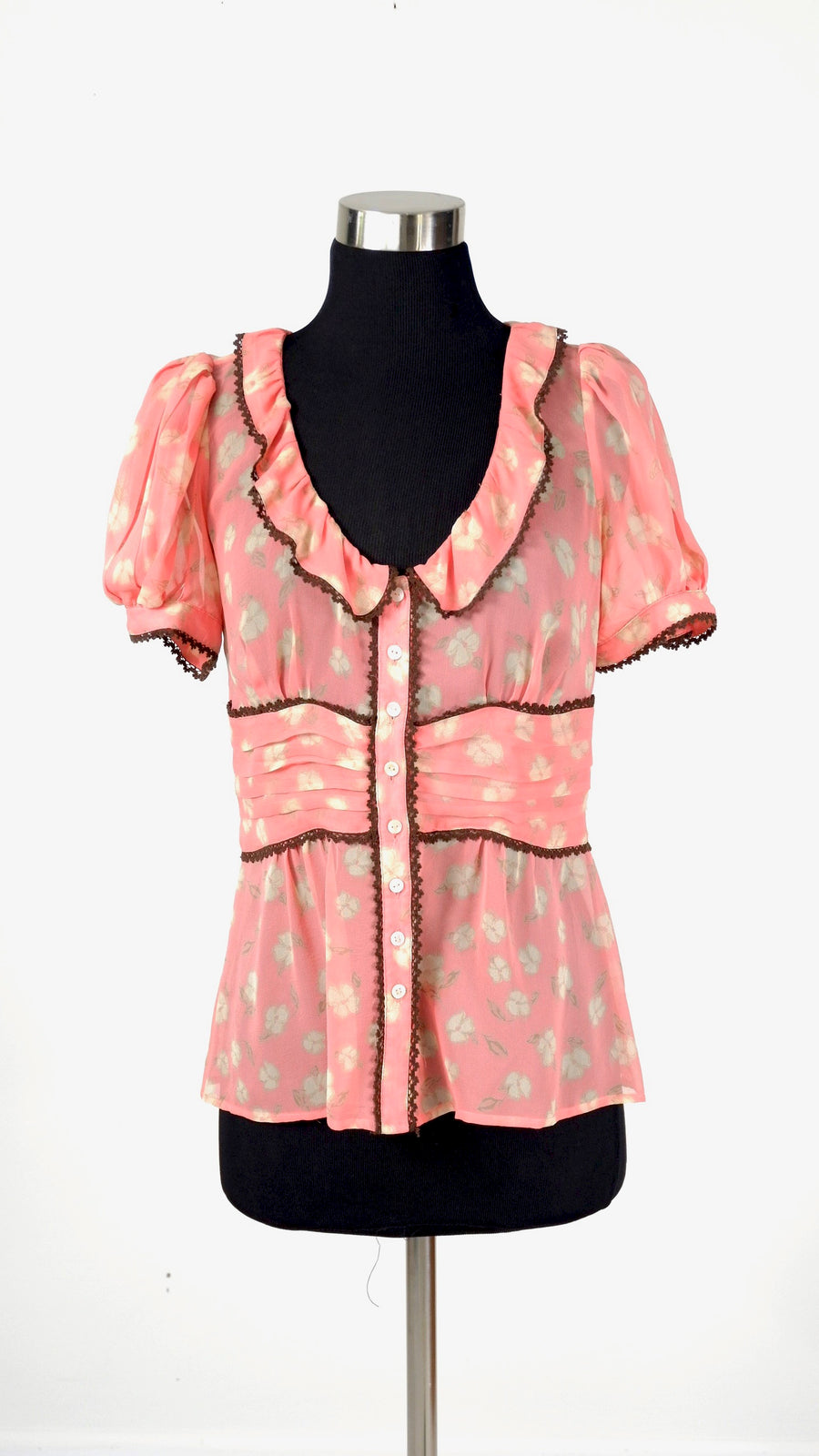 Anthropologie Floral Silk Button Down Top (8)