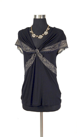 Anthropologie Black & Lace Top (S)