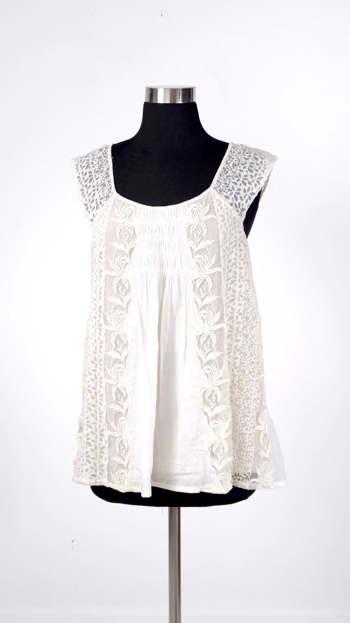 Anthropologie Ivory & Nude Layered Lace Top (S/M)