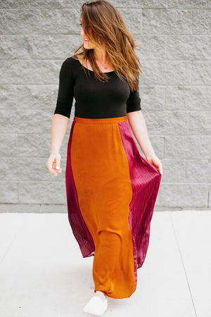 Burnt Orange & Deep Magenta Maxi Skirt