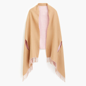 J.Crew Camel & Light Pink Reversible Scarf Cape