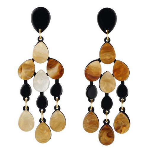 Tortoise & Black Drop Earrings