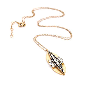 Gold & Crystal Ellipse Pendant Necklace