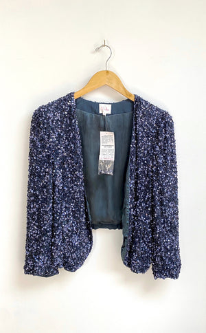NEW Parker Navy Sequin Silk Blazer Jacket (M)