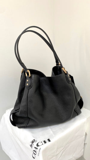 Coach Black Leather & Gold Grommet Purse