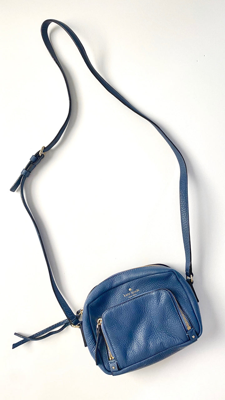 Kate Spade Dark Blue 2 Pocket Leather Crossbody Purse