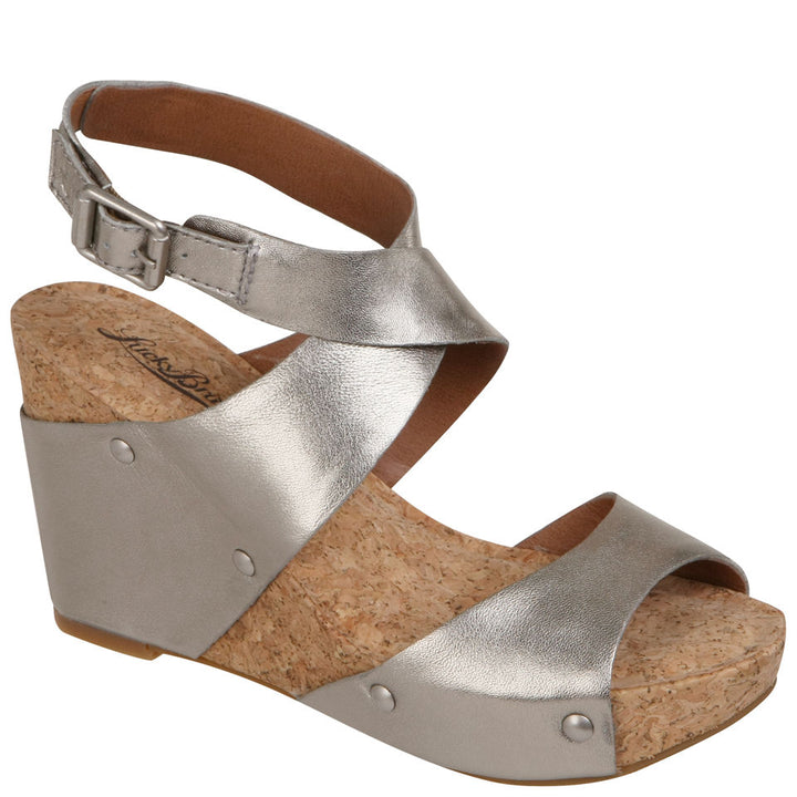 Lucky Brand Moran Leather Wedges in Metallic Proseco (8M)