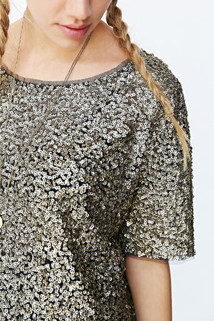 Urban Outfitters 'Rocker Tee' Bronze Gold Sequin Top (L)