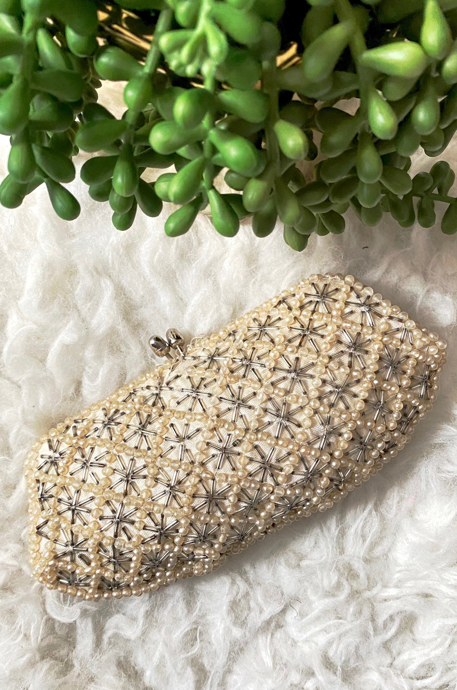 Vintage Pearl & Bead Embellished Clutch Purse