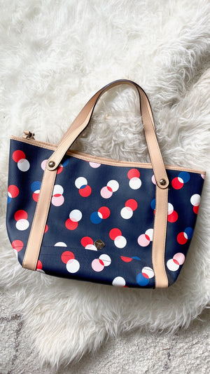 Kate Spade Navy Dotted Polyvinyl & Leather Shoulder Purse