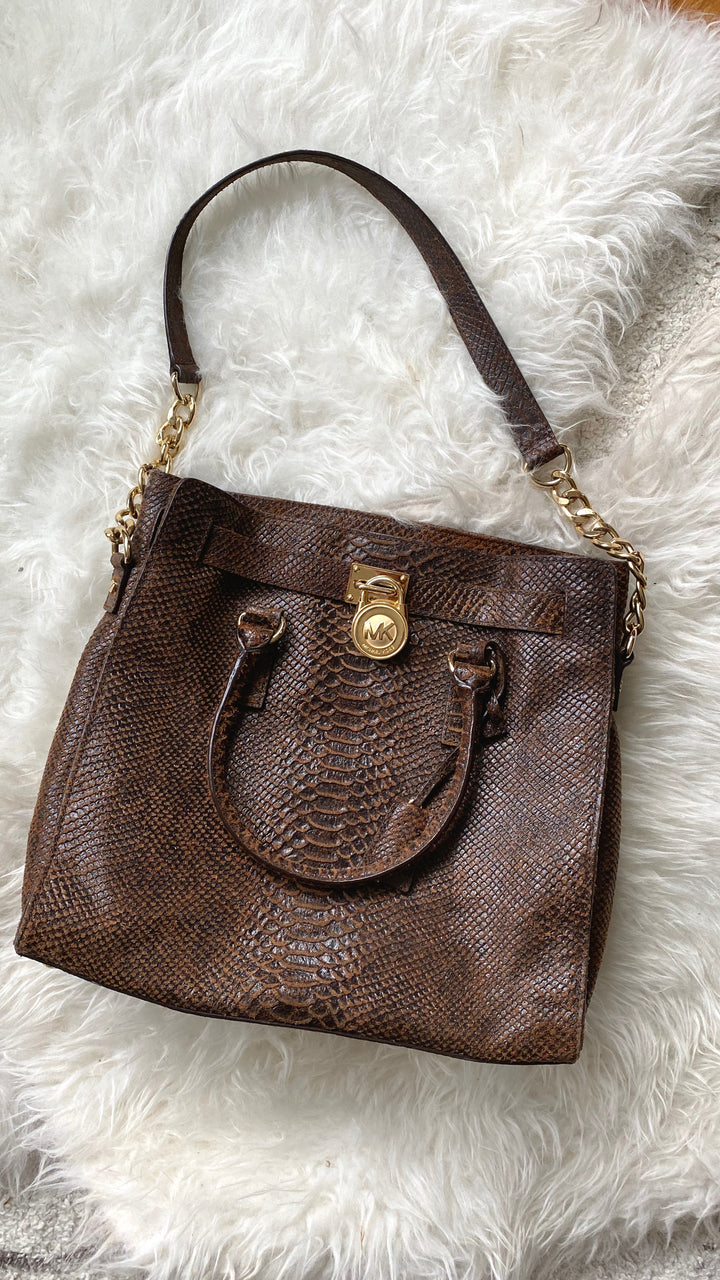 Michael Kors Large Mocha Python Hamilton Embossed Purse