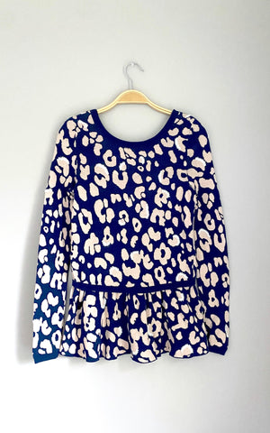 Anthropologie Animal Stitched Peplum Sweater Top (S)