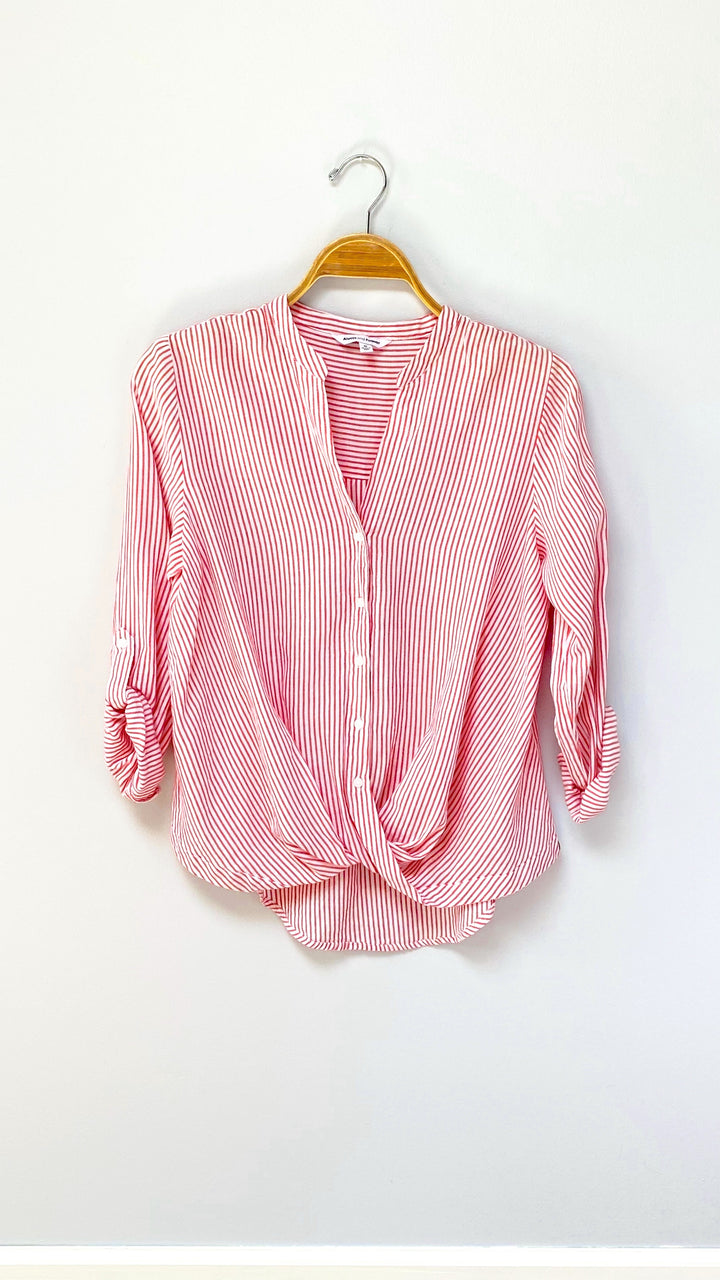 Red Soft Stripe Drape Button Down