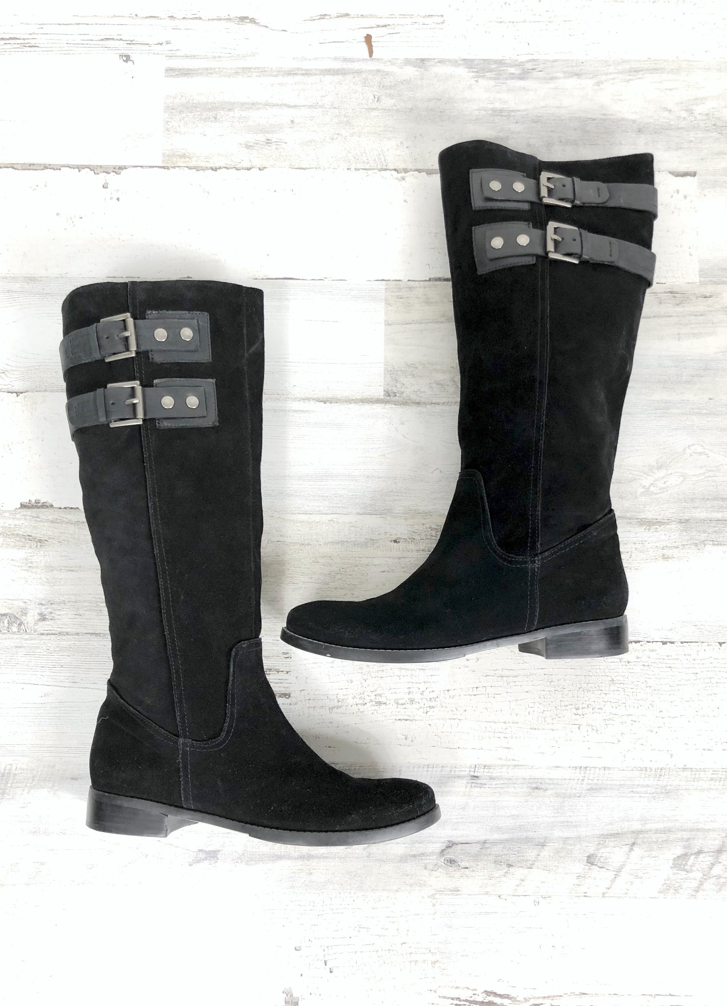 70965a8e1c9 Nine West Black Suede Buckle Riding Boots (9) – The Wandering ...