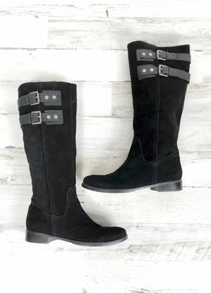Nine West Black Suede Buckle Riding Boots (9)