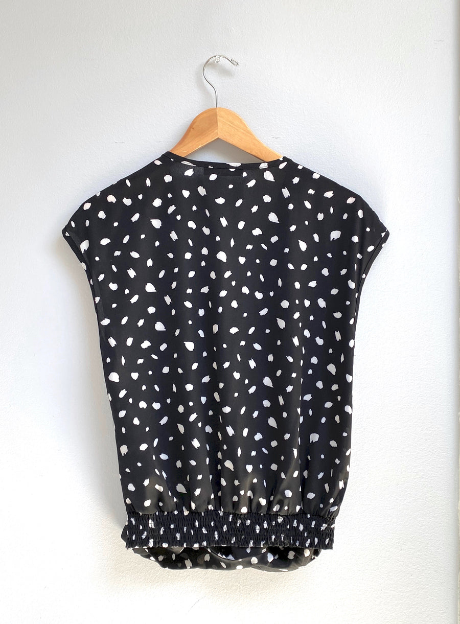 Black Spotted Cross Drape Top