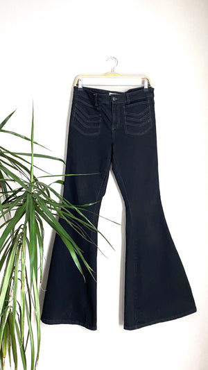 Free People Black Dramatic Bell Bottom Flare Jeans (30 / M)