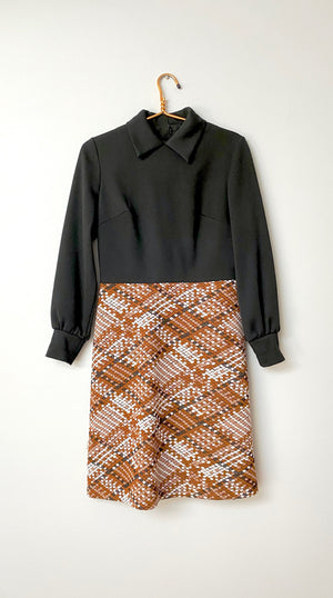Vintage 1970's Black & Brown Work Week Dress