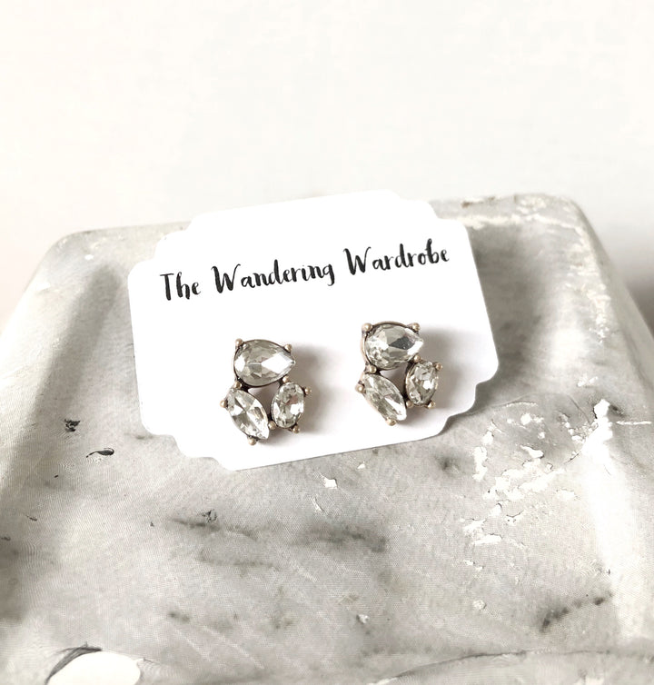 3 Stone Crystal Stud Earrings