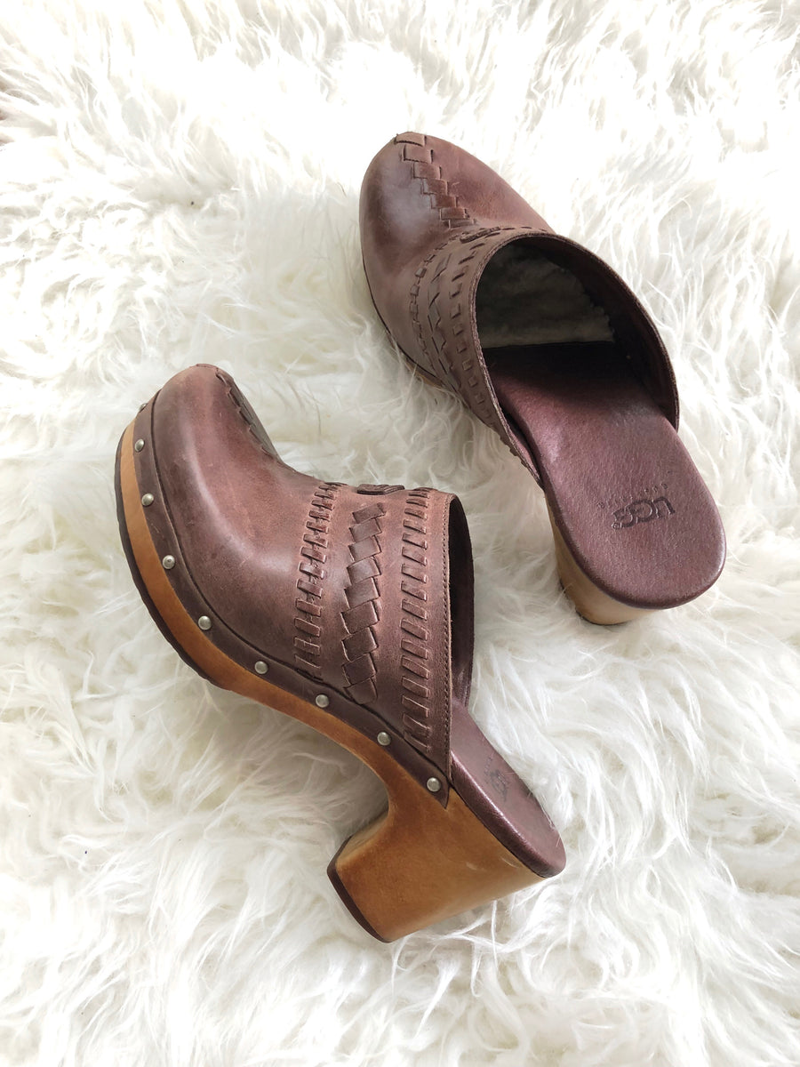 Ugg 'Vivica' Brown Shearling Clogs