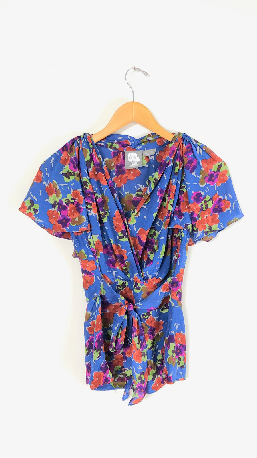 Anthropologie Blue Floral Wrap Top (6)