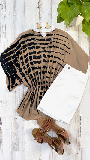 Parker Brown & Black Silk Batwing Top (S)