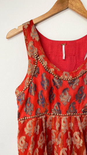 Free People Red & Gold Studded Party Dress (8)