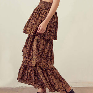 Leopard Tiered Maxi Skirt (M)