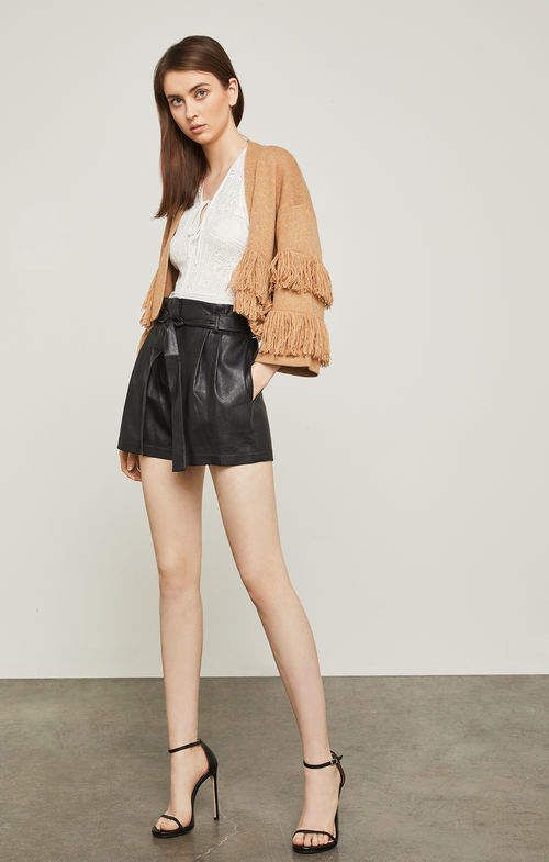 BCBG Faux Leather Paper Bag Shorts (L)