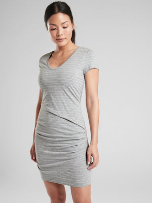 Athleta Gray Central Stripe Dress (M)