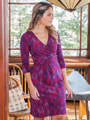 Mata Traders Geneva Fuchsia Geometric Wrap Dress