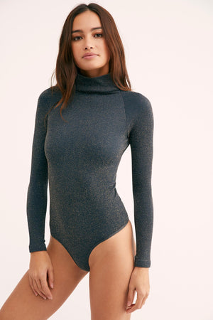 Intimately Free People Jade & Gold Metallic Mock Neck SeamlessBodysuit(M/L)
