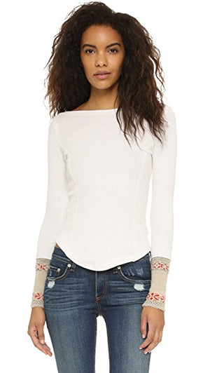 Free People Rosey Cuffs Thermal Top (M/L)