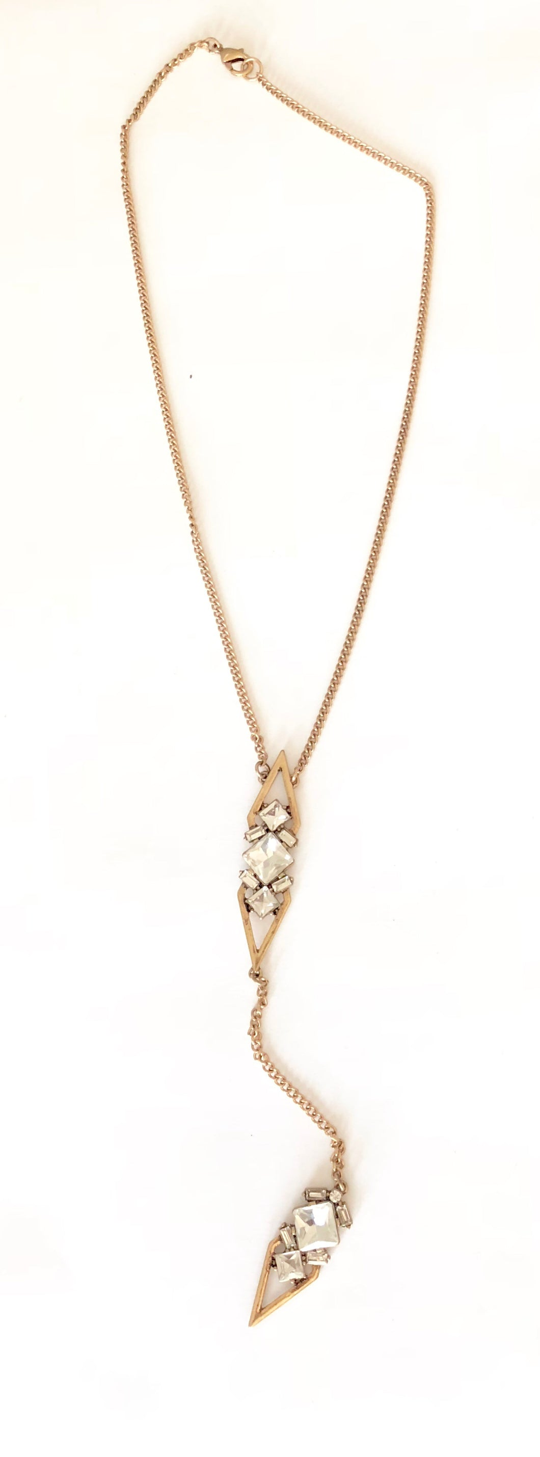 Gold & Crystal Double Pendant Necklace