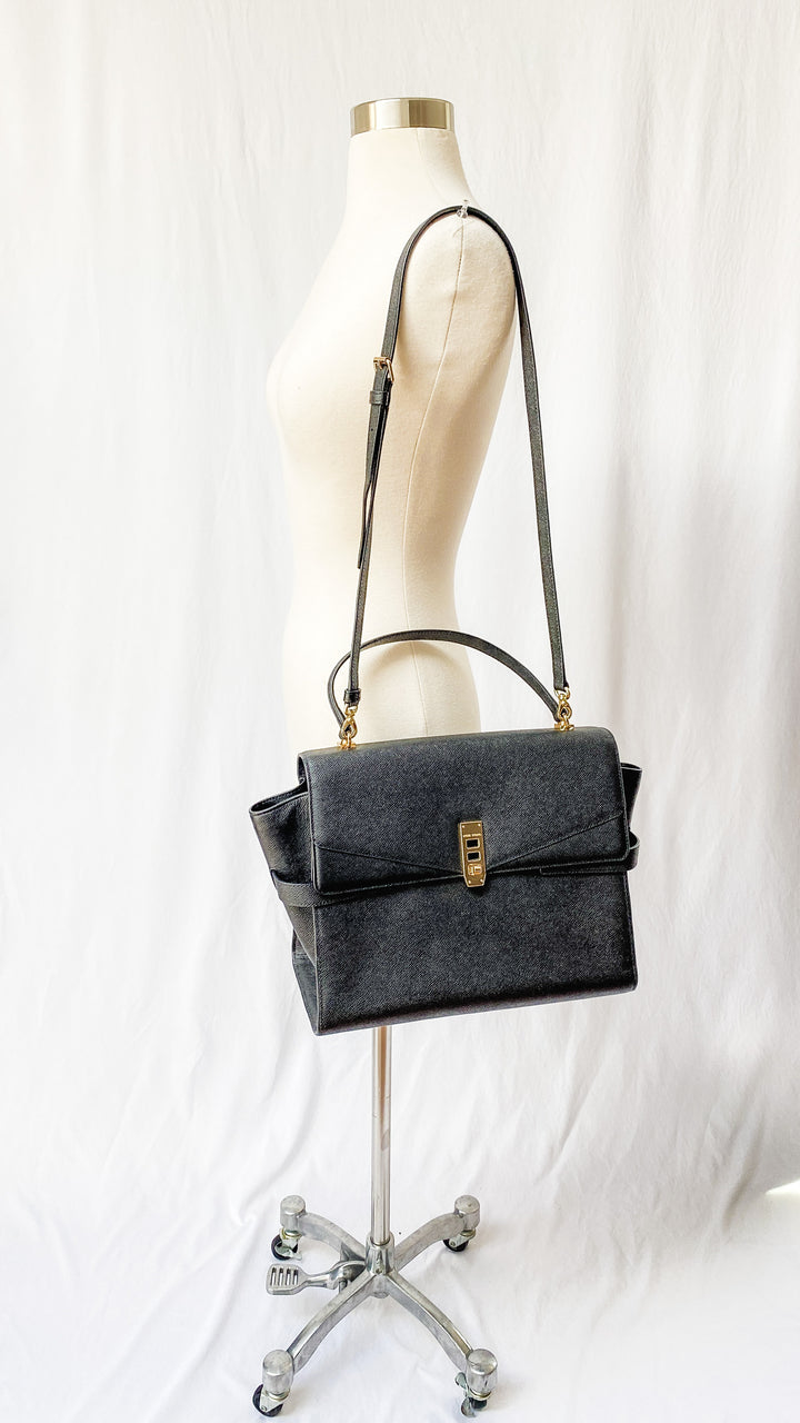 Henri Bendel Black Uptown Satchel Purse